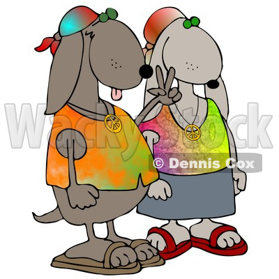 Cool Hippie Dog Couple Wearing Tie Dye Shirts And Sandals, One Dog Flashing The Peace Sign Clipart Illustration © djart #17753