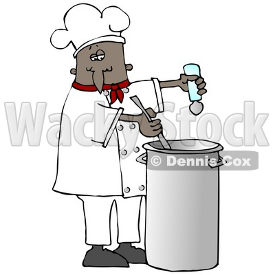 Clipart Illustration of a Black Male Chef In A Red Collared Chefs Jacket And White Chef Hat, Seasoning Soup With A Salt Shaker And Stirring It While Cooking In A Kitchen © djart #18311