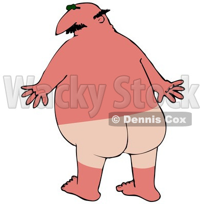 Clipart Illustration of a Chubby Bald White Man With A Bad Sunburn And Tan Lines Where His Swimming Trunks Were © djart #18407