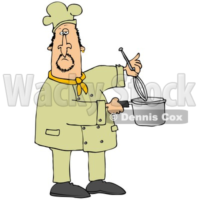 Clipart Illustration of a White Male Chef Stirring Food in a Pot With a Whisk © djart #18564