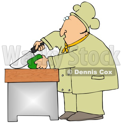 Clipart Illustration of a White Male Chef Carefully Slicing a Green Bell Pepper © djart #18565