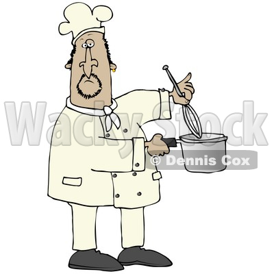 Clipart Illustration of a Mexican Male Chef Stirring Food In A Pot With A Whisk © djart #18761