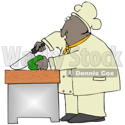 Clipart Illustration of a Black Male Chef Carefully Slicing a Green Bell Pepper © djart #18765