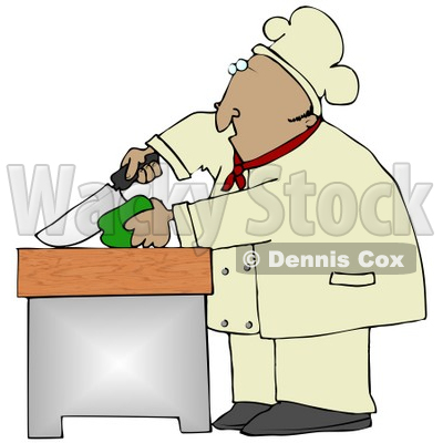 Clipart Illustration of a Mexican Male Chef Carefully Slicing a Green Bell Pepper © djart #18766