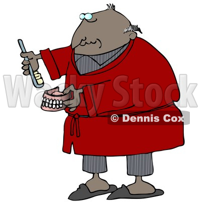 Clipart Illustration of an Old Balding Black Man In Gray Pjs And A Red Robe, Putting Glue On Or Brushing His False Teeth And Dentures © djart #18855