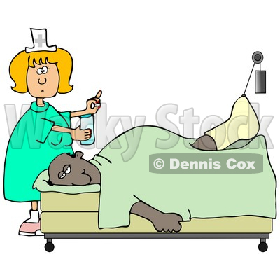 Clipart Illustration of a Female Caucasian Nurse In A Green Dress, Holding A Glass Of Water And A Pill For An Injured African American Patient With His Foot Up In A Traction © djart #18858
