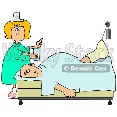 Clipart Illustration of a Female Caucasian Nurse In A Green Dress, Holding A Glass Of Water And A Pill For An Injured Caucasian Patient With His Foot Up In A Traction © djart #18860