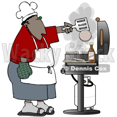 Clipart Illustration of an African American Man Cooking Hamburger Patties On A Gas Grill At A Barbecue Party © djart #18870