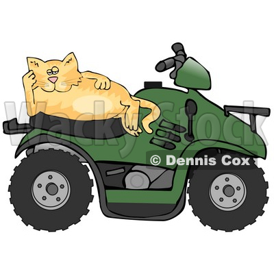 Clipart Illustration of a Lazy Orange Cat Resting On The Seat Of A Green