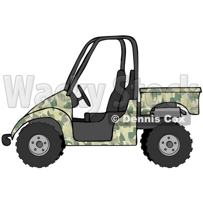 Clipart Illustration of a Military Green Camouflage UTV Truck © djart #18937