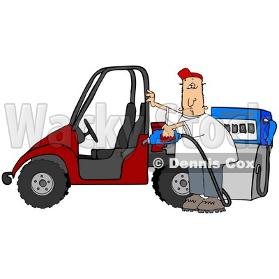 Clipart Illustration of a White Man Wearing A Red Hat, Standing Beside A Red Utv And Filling It Up With Regular Fuel At A Gas Station © Dennis Cox #18977