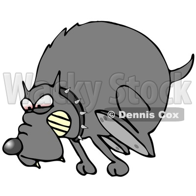 Clipart Illustration of a Mad Dog In The Red Zone, Wearing A Spiked Collar And Chasing An Intruder Away © djart #19000