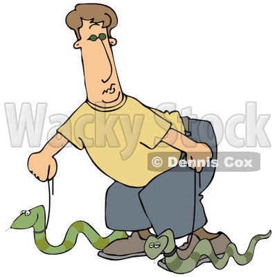 Clipart Illustration of a Silly Man Walking Two Green Pet Snakes On Leashes © djart #19003