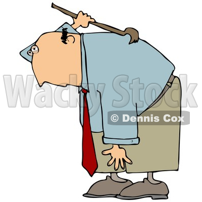 Clipart Illustration of a Bald White Businessman Bending Over And Scratching An Itch On His Back With A Back Scratcher © djart #19263