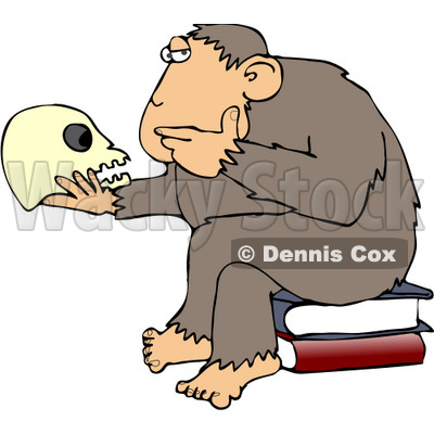 "Clipart Illustration of An Intelligent Monkey Gazing At A Human Skull In His Hand, While Sitting On A Pile Of Books, A Parody Of Hugo Rheinhold's ""Philosophizing Ape"" Sculpture That Was Created In 1892 © djart #19367"