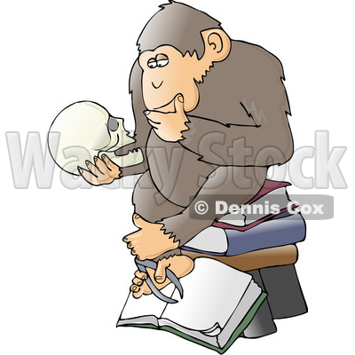 "Clipart Illustration of a Chimp In Thought, Sitting On Top Of A Stack Of Books And Staring At A Skull, A Parody Of Hugo Rheinhold's ""Philosophizing Ape"" Sculpture That Was Created In 1892 © djart #19369"