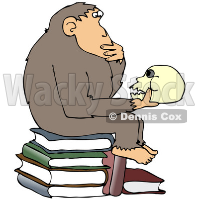 "Clipart Illustration of a Smart Chimpanzee Sitting On Top Of A Stack Of Books And Gazing At A Skull, A Parody Of Hugo Rheinhold's ""Philosophizing Ape"" Sculpture That Was Created In 1892 © djart #19370"