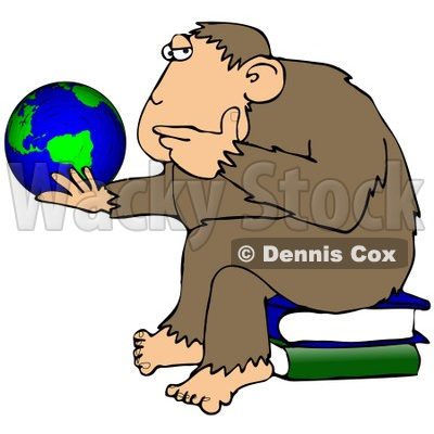 Clipart Illustration Of A Chimp In Thought, Sitting On Top Of A Stack Of Books And Staring At A Globe, Pondering The Universe © djart #19392