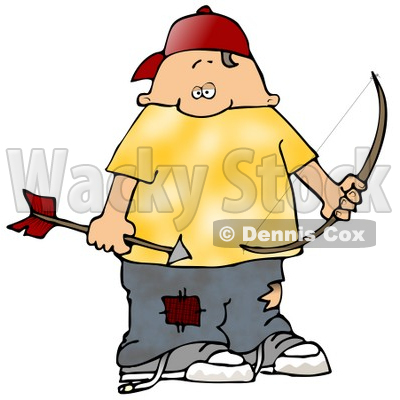 Clipart Illustration of a Chubby White Boy Wearing Patched Jeans, Holding A Bow And Arrow While Shooting At Birds © djart #19405