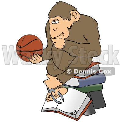 Clipart Illustration of a Chimp In Thought, Rubbing His Chin, Sitting On Top Of A Stack Of Books And Staring At A Basketball © djart #19516
