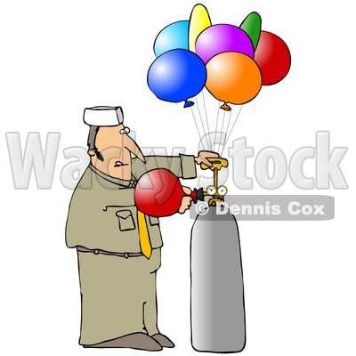 Clipart Illustration of a Balloon Guy In Uniform, Filling Colorful Party Balloons With Helium © djart #19517