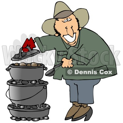 Clipart Illustration of a Happy White Guy Cooking On A Dutch Oven While Camping Outdoors © djart #19520