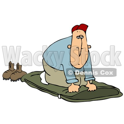 Clipart Illustration of a Woodsy White Guy Unrolling His Green Sleeping Bad And Preparing To Go To Sleep © Dennis Cox #19522