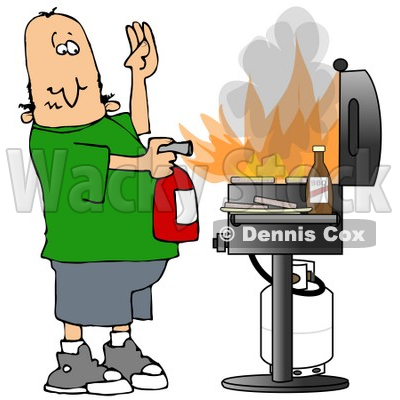 Clipart Illustration of a Cartoon White Man Using A Fire Extinguisher To Put Out Flaming Meat Patties On A Bbq Grill © djart #19523