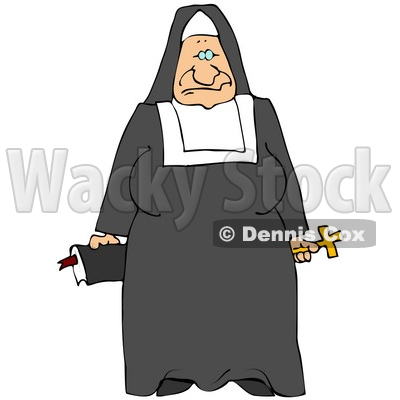 Clipart Illustration of a Tired Old Nun In Black And White, Holding A Bible And Cross © djart #19527
