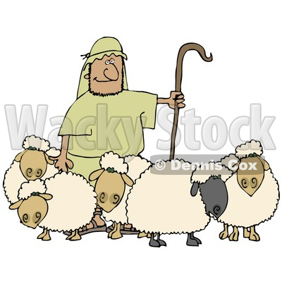 Clipart Illustration of a Man Holding A Staff And Standing With His Sheep © djart #19529