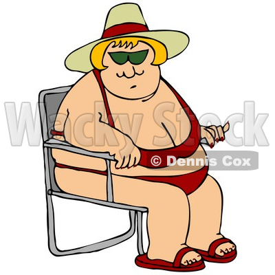 Clipart Illustration of a Pleasantly Plump Blond White Lady In A Red Bikini, Hat And Sandals, Seated In A Beach Chair And Enjoying Summer Weather © djart #19535