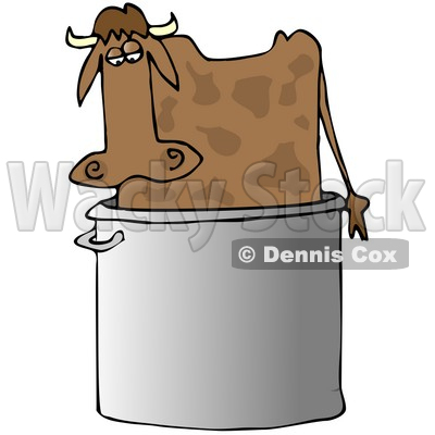 Clipart Illustration of a Confused Brown Cow Standing In A Giant Stock Pot © djart #19619