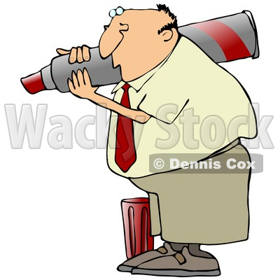 Clipart Illustration of a White Businessman Carrying A Giant Red Marker On His Shoulder, The Cap At His Feet © djart #19699