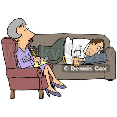 Clipart Illustration of a Depressed Man Lying On A Sofa In A Shrink's Office, Opening Up To A Middle Aged Psychiatrist Woman As She Takes Notes For His Files © Dennis Cox #20020