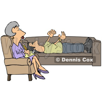 Clipart Illustration of a Patient Middle Aged Caucasian Woman, A Counselor, In A Purple Dress, Seated Cross Legged In A Chair While Listening To Her Client Vent About His Problems As He Lays On A Sofa In Her Office © Dennis Cox #20021