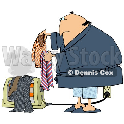 Clipart Illustration of an Unwise Middle Aged White Guy In A Robe And Pjs, Drying His Wet Laundry Over An Electric Floor Heater, Steam Rising Into The Air © djart #20308