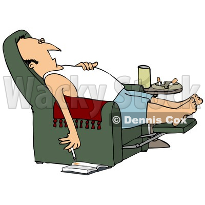 Clipart Illustration Of A Lazy White Man In A Tank Top And Boxers, Reclined In A Green Lazy Chair, Sleeping And Holding A Lit Cigarette Down Near A Book On The Floor © djart #20309