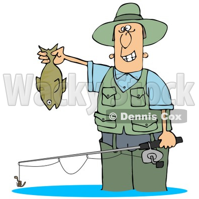 Clipart illustration of a man wading in water and holding for How many fishing rods per person in texas