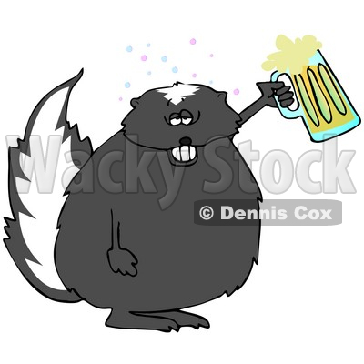 Clipart Illustration of a Chubby Skunk Getting Drunk And Holding Up A Mug Of Beer At A Party Or Oktoberfest © djart #20869