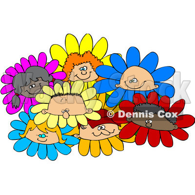 Royalty-Free (RF) Clipart Illustration of a Group Of Diverse Children In Flowers © Dennis Cox #209417