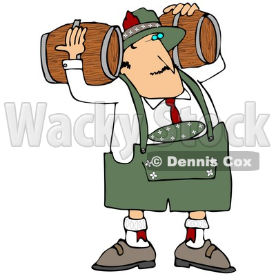 Clipart Illustration of an Oktoberfest Man Carrying Two Beer Keg Wood Barrels On His Shoulders © djart #20945