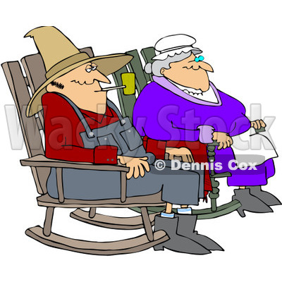 Royalty-Free (RF) Clipart Illustration of a Relaxed Couple Sitting In Rocking Chairs © djart #209484