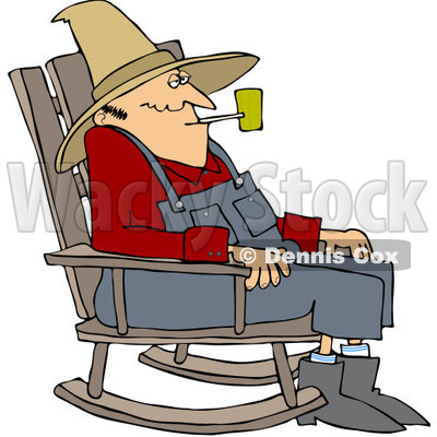 Royalty-Free (RF) Clipart Illustration of an Old Man Smoking A Pipe And Sitting In A Rocking Chair © djart #209485