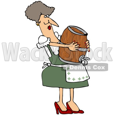 Clipart Illustration of an Oktoberfest Woman In Costume, Carrying A Beer Keg Wood Barrel And Balancing It On Her Belly © djart #20958