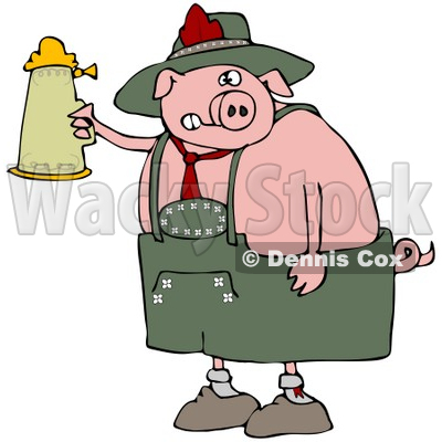 Clipart Illustration of a Drunk Pink Pig Drinking A Beer From A Setin At Oktoberfest © djart #20960
