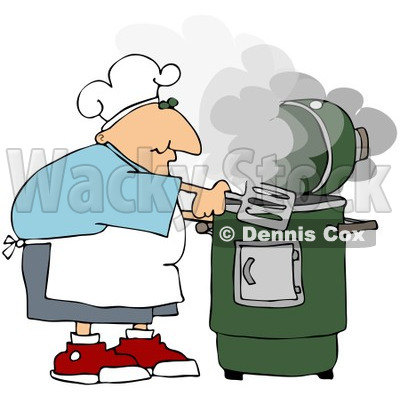 Royalty-Free (RF) Clipart Illustration of a Caucasian Man Cooking With A Green Smoker © djart #209891