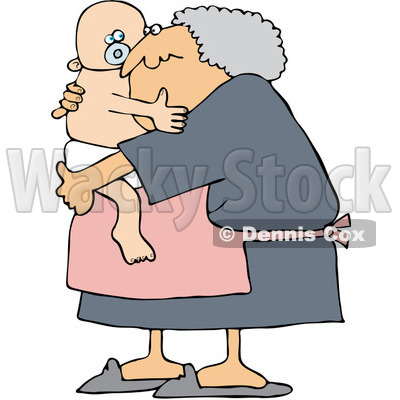 Royalty-Free (RF) Clipart Illustration of a Baby Boy Hugging His Granny © Dennis Cox #212106