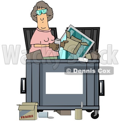 Royalty-Free (RF) Clipart Illustration of a Woman Standing Inside A Dumpster, With A Blank Sign For Text Space On The Front © djart #212109