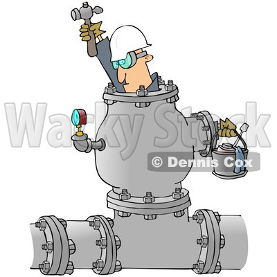 Royalty-Free (RF) Clipart Illustration of an Industrial Worker Inside A Large Pipe © djart #213011