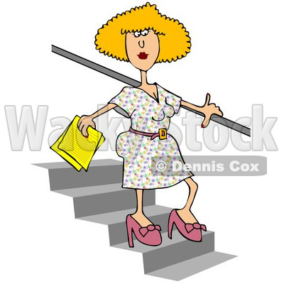 Royalty-Free (RF) Clipart Illustration of a Blond Woman Walking Down Stairs © djart #213936